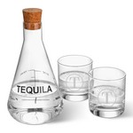 Monogrammed Tequila Decanter in Wood Crate with Set of 2 Lowball Glasses