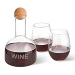 Monogrammed Wine Decanter in Wood Crate with Set of 2 Stemless Wine Glasses
