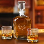Monogrammed Decanter Set with 2 Low Ball Glasses