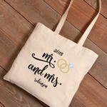 Personalized Mr. & Mrs. Wedding Rings Canvas Tote Bag