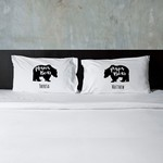 Personalized Mama Bear & Papa Bear Couples Pillow Case Set