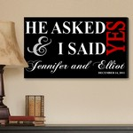 Personalized Black I Said Yes Canvas Print