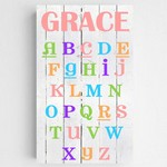 Personalized Colorful Kids Canvas Sign