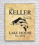 Personalized Family Lake Home Canvas Sign