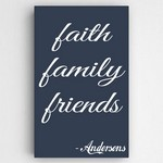 Personalized Family and Faith Navy Canvas Sign