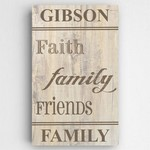 Personalized Family and Faith Rustic Canvas Sign