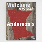 Personalized Lake House State Canvas Sign