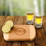Personalized Bamboo Bar Board with 2 Distinction Shot Glasses