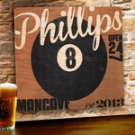 8-Ball Personalized Wood Tavern & Bar Sign