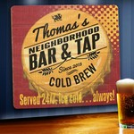 Personalized Served 24/7 Tavern Wood Sign