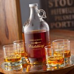 Personalized Distillery Growler Set (Includes 4 Printed Whiskey Glasses)