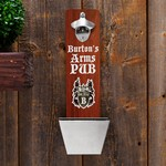 Personalized Arms Pub Wall Mounted Bottle Opener and Cap Catcher