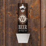 Personalized Single Initial Beer Wall Mounted Bottle Opener and Cap Catcher