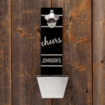 Personalized Cheers Wall Mounted Bottle Opener and Cap Catcher