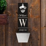 Personalized Family Bar Wall Mounted Bottle Opener and Cap Catcher