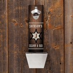 Personalized Sheriff's Saloon Wall Mounted Bottle Opener and Cap Catcher