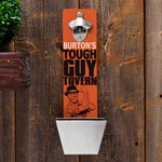 Personalized Tough Guy Tavern Wall Mounted Bottle Opener and Cap Catcher