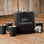 Personalized Matte Black Flask and Shot Glass Gift Set