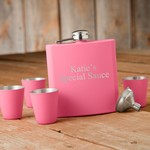 Personalized Matte Pink Flask & Shot Glass Gift Set
