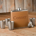 Personalized Hide Stitch Flask & Shot Glass Gift Set