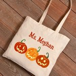 Personalized Halloween Canvas Tote