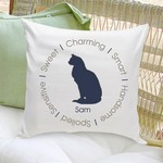 Personalized Circle of Love Cat Silhouette Throw Pillow