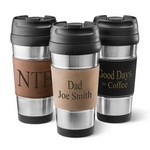 Personalized Leatherette Wrapped Stainless Steel Mug