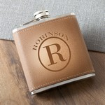 Personalized Monogrammed Tan Hide Stitched Flask