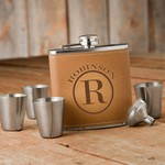 Personalized Monogrammed Tan Hide Flask Gift Set