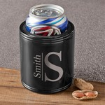 Monogrammed Black Metal Can Cooler