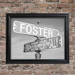 Personalized Black and White Street Sign Framed Print