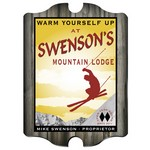 Vintage Personalized Ski Lodge Pub Sign