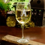 Personalized Kate Monogram White Wine Glass