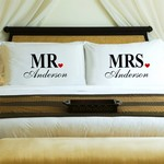 Personalized Couples Mr. & Mrs. Pillow Case Set