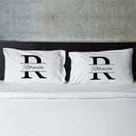 Personalized Stamped Design Couple's Pillow Case Set