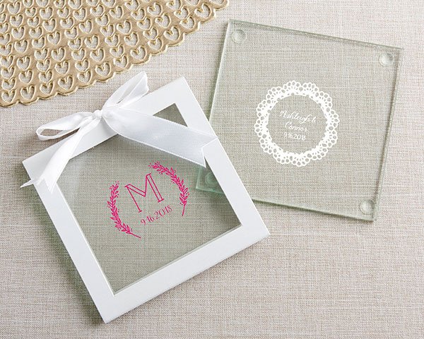 Wedding Favors Coaster.Personalized Glass Coasters Rustic Charm Wedding Set Of 12