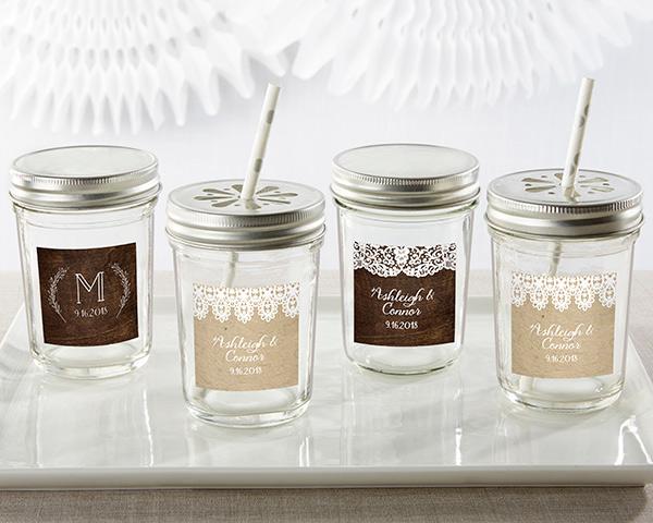 Personalized Mason Jar Rustic Charm Wedding Set Of 12