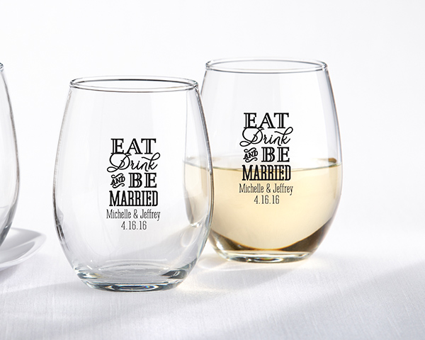 Personalized 9 Oz Stemless Wine Glass Eat Drink Be Married