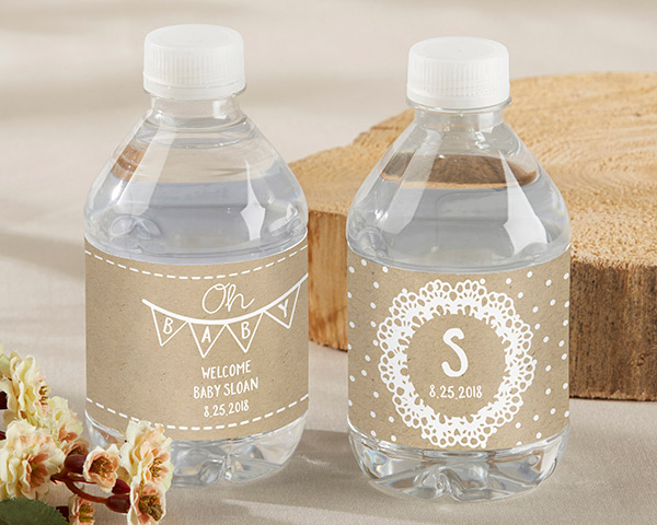 Personalized Water Bottle Labels Rustic Charm Baby Shower