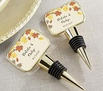 Personalized Gold Bottle Stopper with Epoxy Dome - Fall Leaves