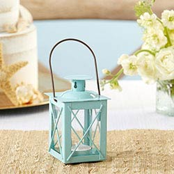Luminous Blue Mini-Lantern Tea Light Holder