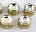 Personalized Gold Round Candy Tin - #Done Graduation (Set of 12)