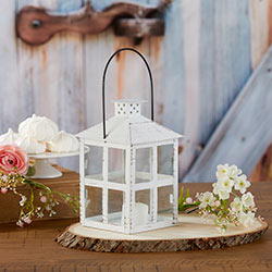 Vintage White Distressed Lantern - Large