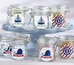 Personalized Glass Favor Jars - Nautical Birthday Collection (Set of 12)