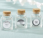 Personalized Petite Treat Square Glass Favor Jar - Silver Foil (Set of 12)