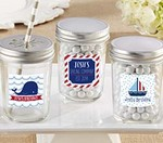 Personalized Glass Mason Jar - Nautical Birthday Collection (Set of 12)