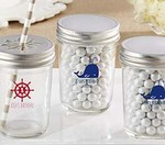 Personalized Printed Glass Mason Jar - Nautical Birthday Collection (Set of 12)