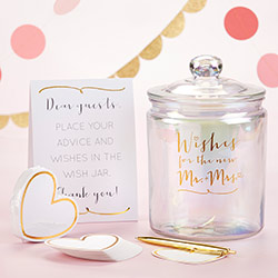 Iridescent Wedding Wish Jar with Heart Shaped Cards
