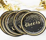 Gold Foil Cheers Paper Plates - Party Time