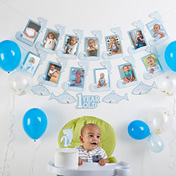 1st Birthday Milestone Photo Banner & Cake Topper - Shark Party